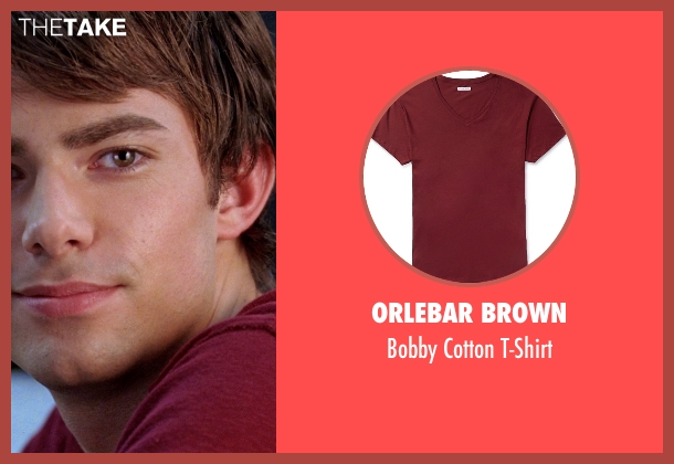 Orlebar Brown red t-shirt from Mean Girls seen with Jonathan Bennett (Aaron Samuels)