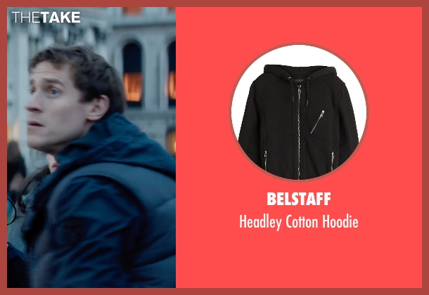 Belstaff black hoodie from Thor: The Dark World seen with Jonathan Howard (Ian Boothby)