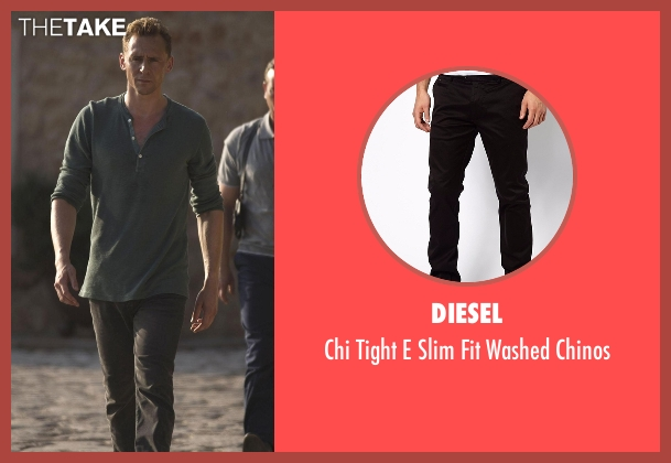 Diesel black chinos from The Night Manager seen with Jonathan Pine (Tom Hiddleston)