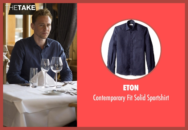 Eton blue sportshirt from The Night Manager seen with Jonathan Pine (Tom Hiddleston)