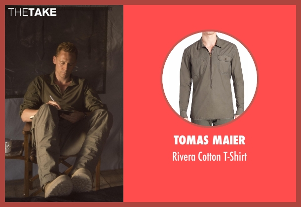 Tomas Maier green t-shirt from The Night Manager seen with Jonathan Pine (Tom Hiddleston)