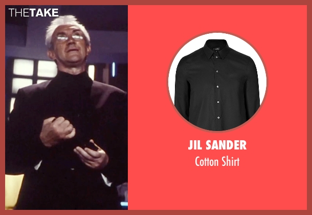 Jil Sander black shirt from Tomorrow Never Dies seen with Jonathan Pryce (Elliot Carver)