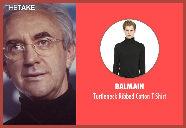 Balmain black t-shirt from Tomorrow Never Dies seen with Jonathan Pryce (Elliot Carver)