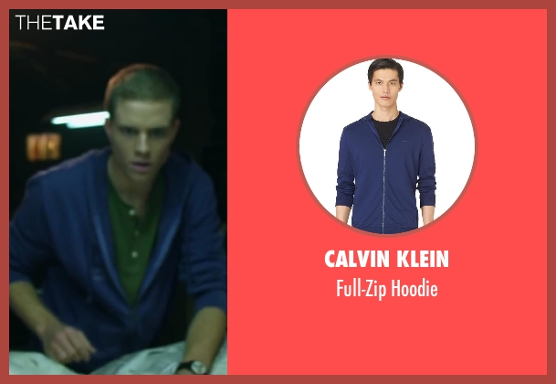 Calvin Klein blue hoodie from Project Almanac seen with Jonny Weston (David Raskin)