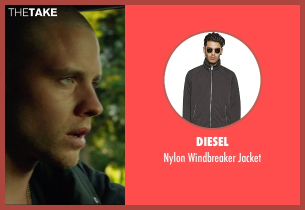 Diesel black jacket from We Are Your Friends seen with Jonny Weston (Mason)