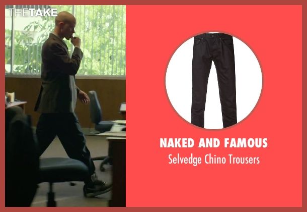 Naked And Famous black trousers from We Are Your Friends seen with Jonny Weston (Mason)