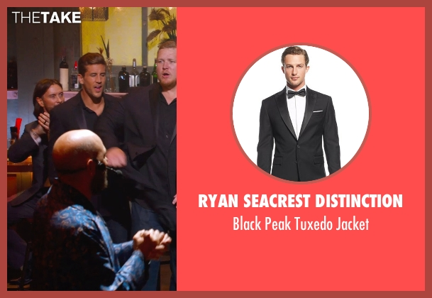 Ryan Seacrest Distinction black jacket from Pitch Perfect 2 seen with Jordan Rodgers (Football Player)