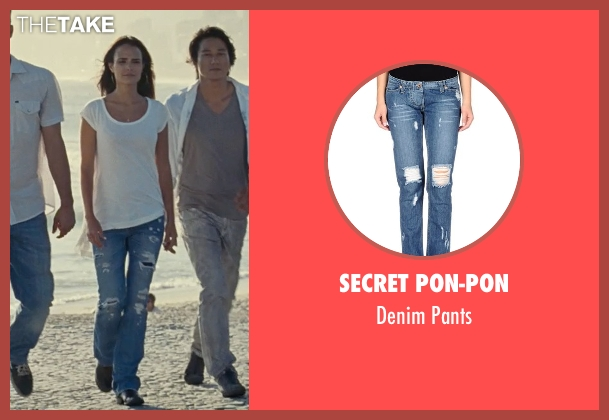 Secret Pon-Pon blue pants from Fast Five seen with Jordana Brewster (Mia Toretto)