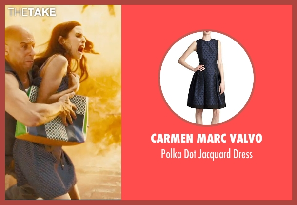 Carmen Marc Valvo blue dress from Furious 7 seen with Jordana Brewster (Mia Toretto)
