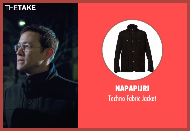 Napapijri black jacket from Snowden seen with Joseph Gordon-Levitt (Edward Snowden)