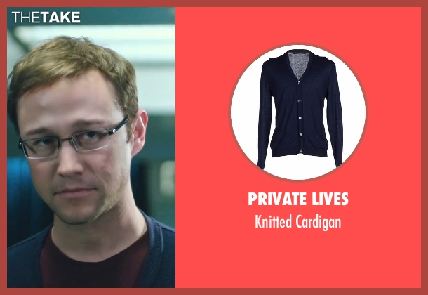 Private Lives blue cardigan from Snowden seen with Joseph Gordon-Levitt (Edward Snowden)