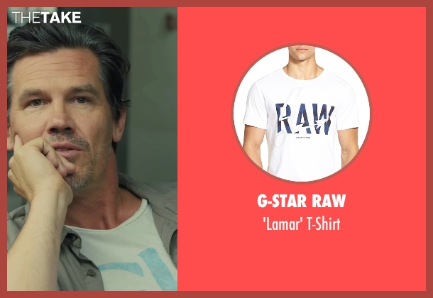 G-Star Raw white t-shirt from Sicario seen with Josh Brolin (Matt)