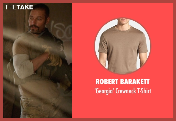 Robert Barakett brown t-shirt from Sabotage seen with Max Martini (Tom 'Pyro' Roberts)