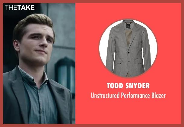 Todd Snyder gray blazer from The Hunger Games: Catching Fire seen with Josh Hutcherson (Peeta Mellark)