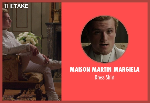 Maison Martin Margiela white shirt from The Hunger Games: Mockingjay Part 1 seen with Josh Hutcherson (Peeta Mellark)