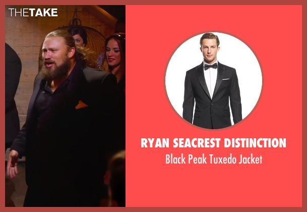 Ryan Seacrest Distinction black jacket from Pitch Perfect 2 seen with Josh Sitton (Football Player)