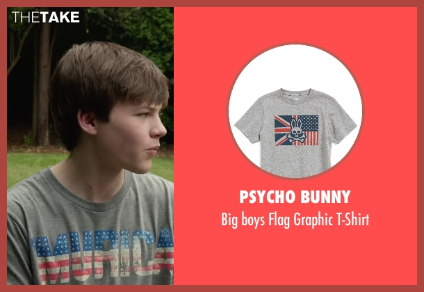 Psycho Bunny gray t-shirt from Max seen with Josh Wiggins (Justin Wincott)