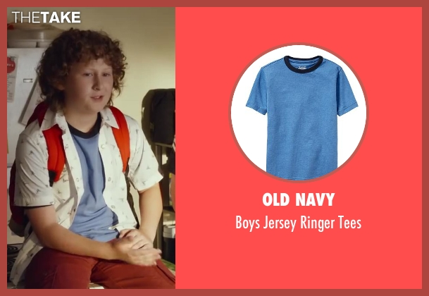 Old Navy blue tees from Let's Be Cops seen with Joshua Ormond (Little Joey)