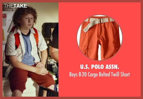 U.S. Polo Assn. orange short from Let's Be Cops seen with Joshua Ormond (Little Joey)