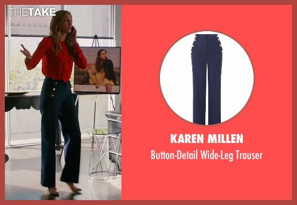 Karen Millen blue trousers from Mistresses seen with Josslyn Carver (Jes Macallan)