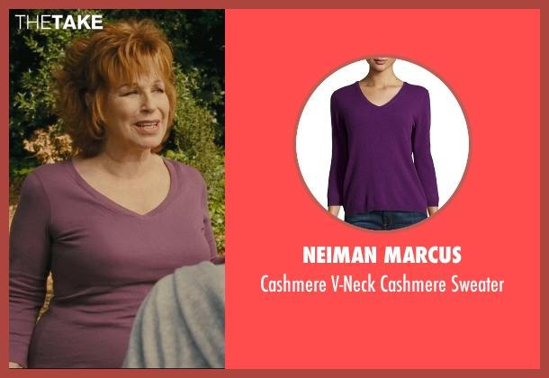 Neiman Marcus purple sweater from Hall Pass seen with Joy Behar (Dr. Lucy)