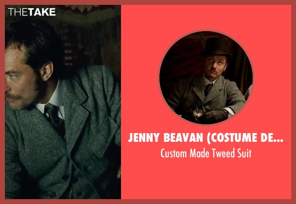 Jenny Beavan (Costume Designer) gray suit from Sherlock Holmes: A Game of Shadows seen with Jude Law (Dr. John Watson)
