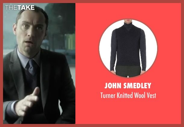 John Smedley black vest from Side Effects seen with Jude Law (Dr. Jonathan Banks)