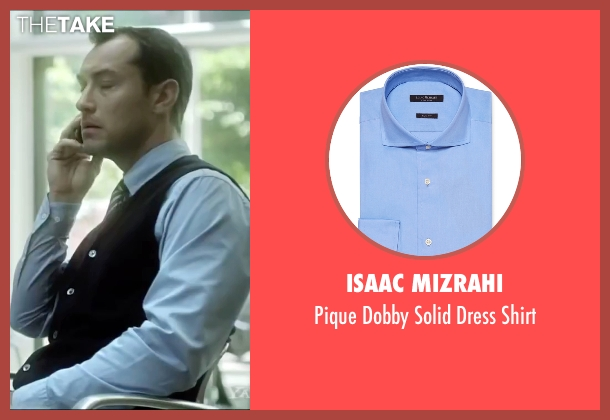 Isaac Mizrahi blue shirt from Side Effects seen with Jude Law (Dr. Jonathan Banks)