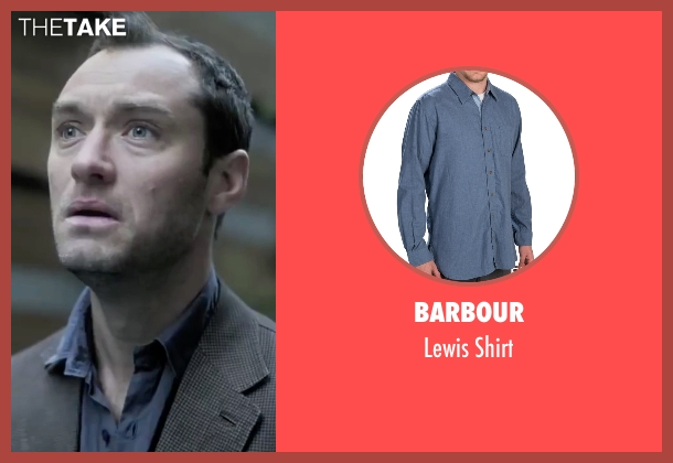 Barbour blue shirt from Side Effects seen with Jude Law (Dr. Jonathan Banks)