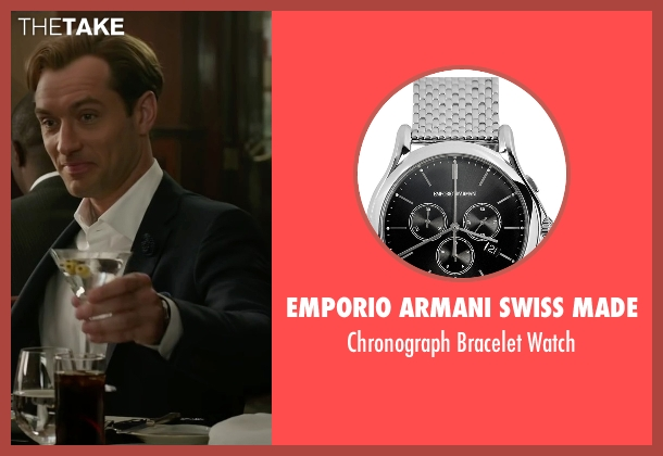 Emporio Armani Swiss Made silver watch from Spy seen with Jude Law (Bradley Fine)