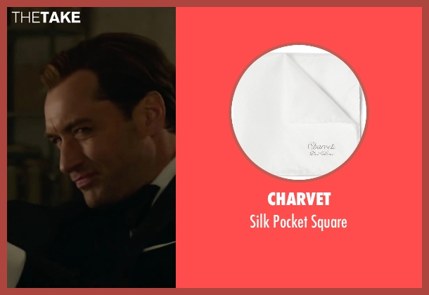 Charvet white square from Spy seen with Jude Law (Bradley Fine)