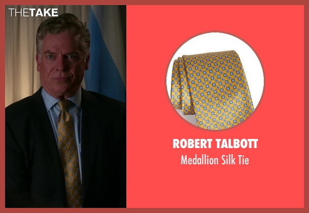 Robert Talbott gold tie from The Good Wife seen with Judge Don Schakowsky (Christopher McDonald)