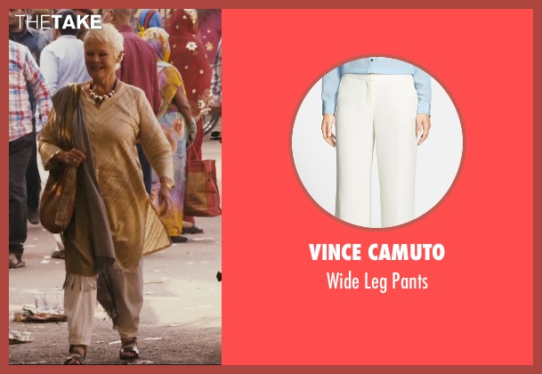 Vince Camuto beige pants from The Second Best Exotic Marigold Hotel seen with Judi Dench (Evelyn Greenslade)
