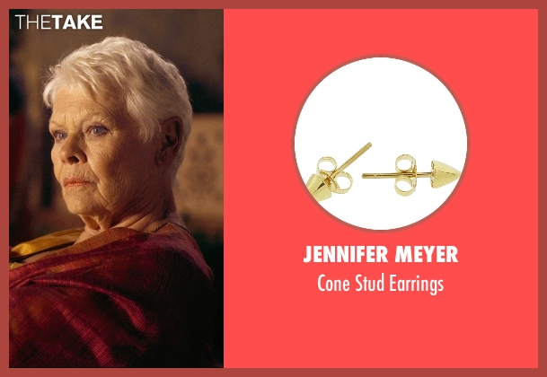 Jennifer Meyer gold earrings from The Second Best Exotic Marigold Hotel seen with Judi Dench (Evelyn Greenslade)