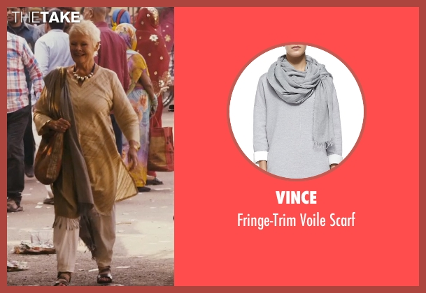 Vince gray scarf from The Second Best Exotic Marigold Hotel seen with Judi Dench (Evelyn Greenslade)