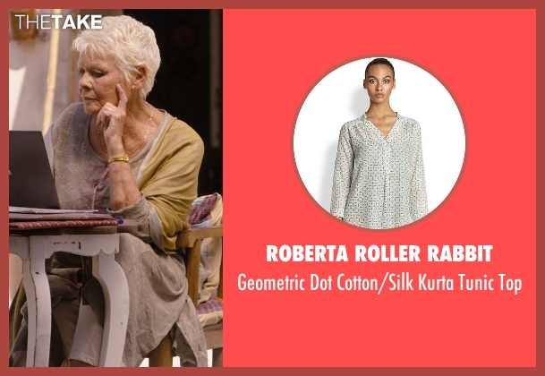 Roberta Roller Rabbit gray top from The Second Best Exotic Marigold Hotel seen with Judi Dench (Evelyn Greenslade)