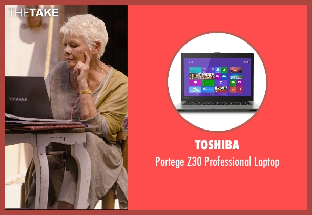 Toshiba laptop from The Second Best Exotic Marigold Hotel seen with Judi Dench (Evelyn Greenslade)