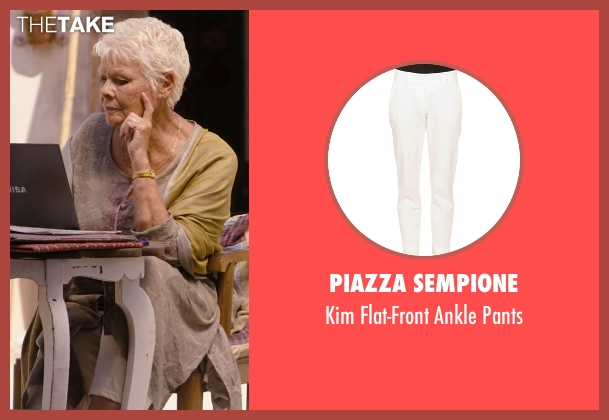 Piazza Sempione white pants from The Second Best Exotic Marigold Hotel seen with Judi Dench (Evelyn Greenslade)