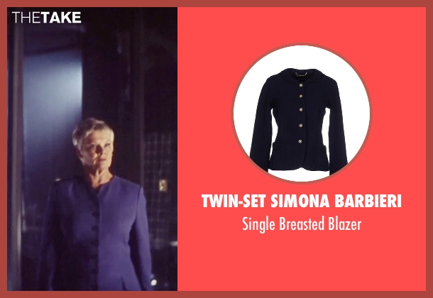 Twin-Set Simona Barbieri blue blazer from Tomorrow Never Dies seen with Judi Dench ('M')
