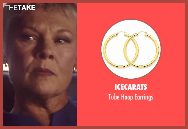 Icecarats gold earrings from Tomorrow Never Dies seen with Judi Dench ('M')