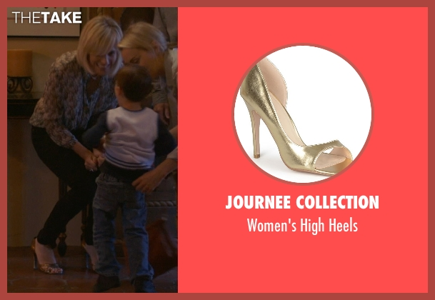 Journee Collection gold heels from The Overnight seen with Judith Godrèche (Charlotte)