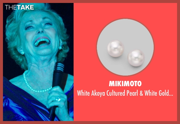 Mikimoto white earrings from The Purge: Anarchy seen with Judith McConnell (Old Elegant Woman)