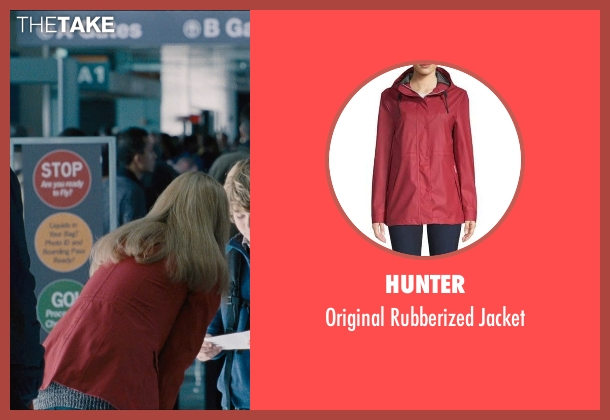Fjallraven red jacket from Jurassic World seen with Judy Greer (Park Visitor)