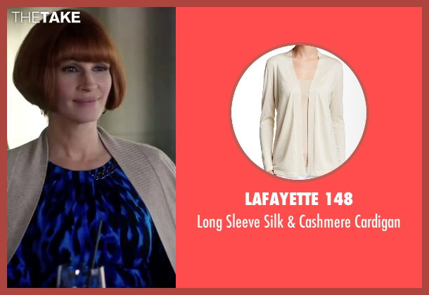 Lafayette 148 beige cardigan from Mother's Day seen with Julia Roberts (Miranda)