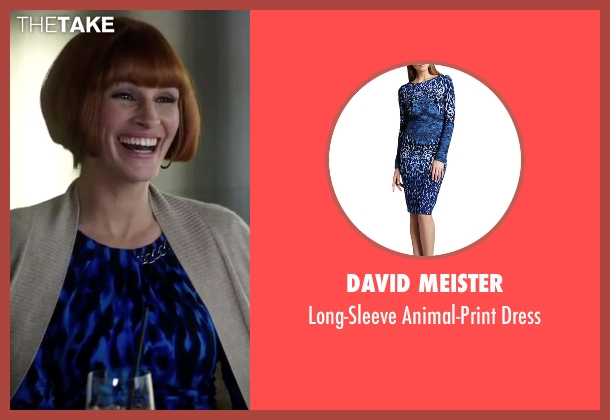 David Meister blue dress from Mother's Day seen with Julia Roberts (Miranda)