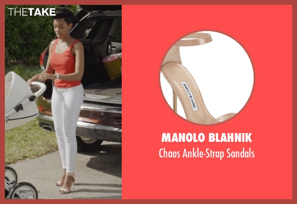 Manolo Blahnik beige sandals from Ballers seen with Julie Greane (Jazmyn Simon)