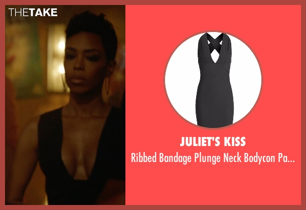 Juliet's Kiss black dress from Ballers seen with Julie Greane (Jazmyn Simon)