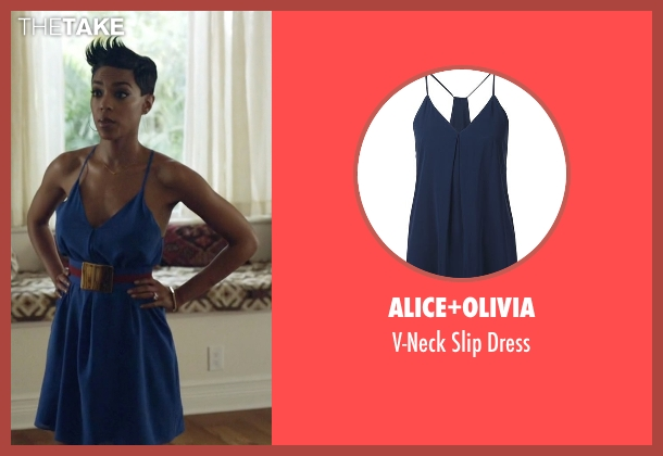 Alice+Olivia blue dress from Ballers seen with Julie Greane (Jazmyn Simon)