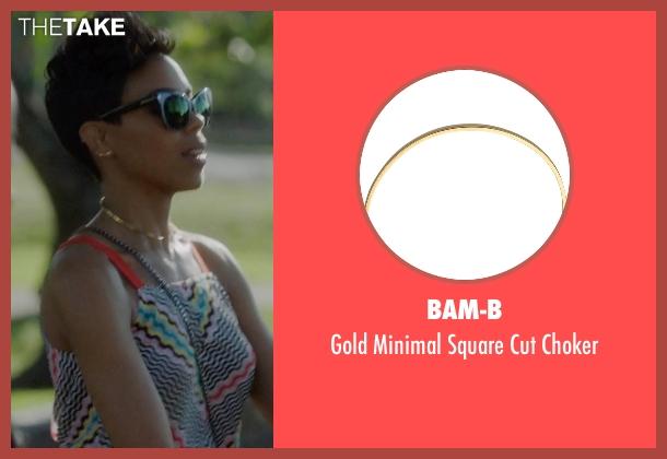 Bam-B gold choker from Ballers seen with Julie Greane (Jazmyn Simon)
