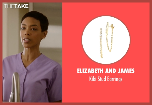 Elizabeth And James gold earrings from Ballers seen with Julie Greane (Jazmyn Simon)